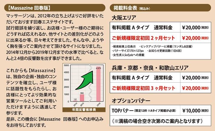 回春マッサージ情報『マッサージン』の掲載料金の紹介画像
